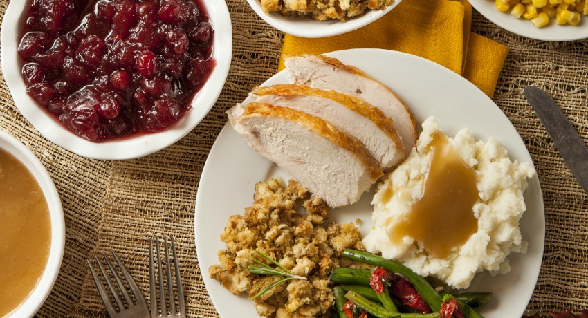 Holiday meal photo via shutterstock