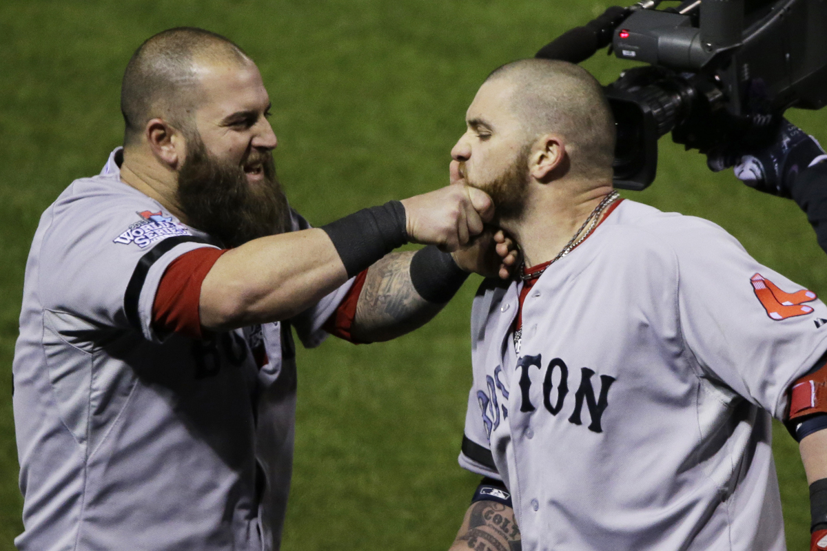 boston red sox world series beard pull
