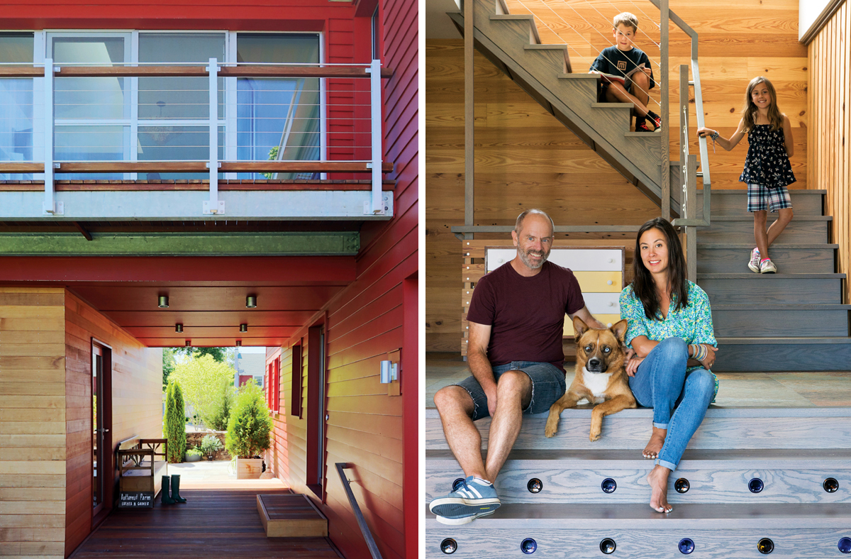 Left: A red breezeway connects the street to the backyard; its color and form were inspired by New England's many historical covered bridges. The kids' bedrooms, with their own private balconies, are above. Right: Developer Duncan MacArthur sits on the steps of his new home with his wife, Diana, their children, LiLi and Harry, and the family dog, Rhedd.