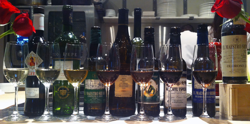 The surprising diversity of sherry wines, from light and dry fino and manzanilla (glasses on the left)  to dark and sweet oloroso (glasses on the right). / Photo by Melodie Reynolds.