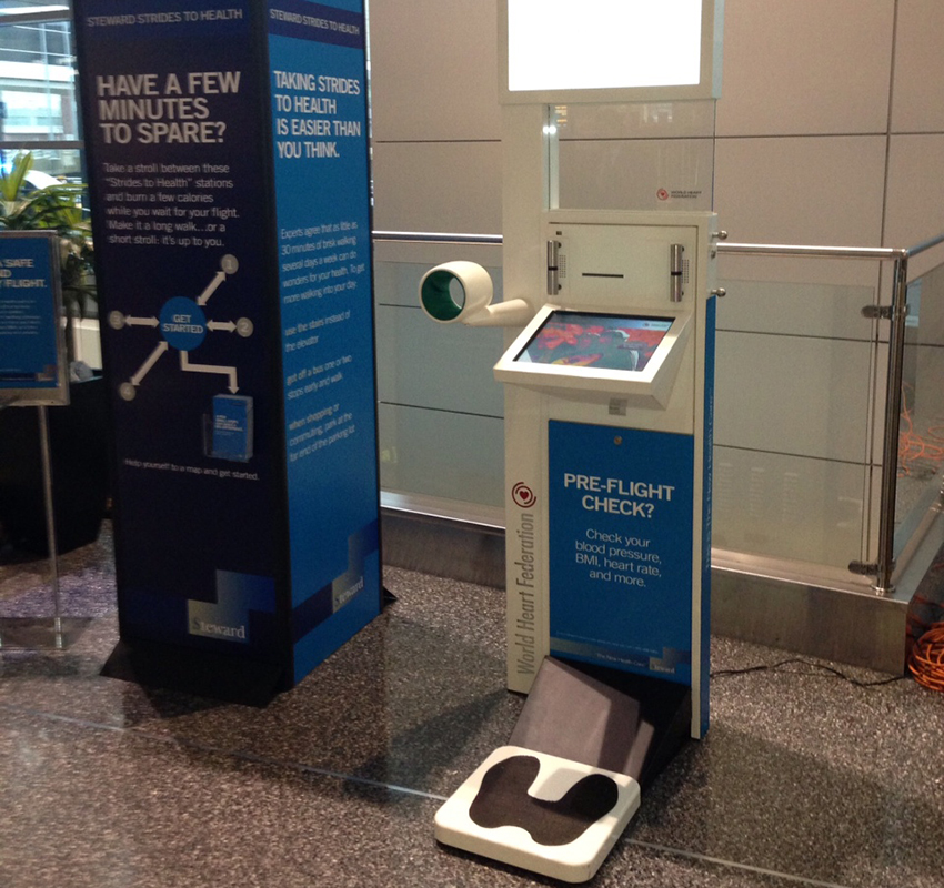 The new health stations at Logan Airport.