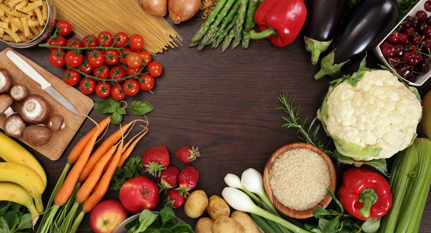 Table of healthy food image via shutterstock