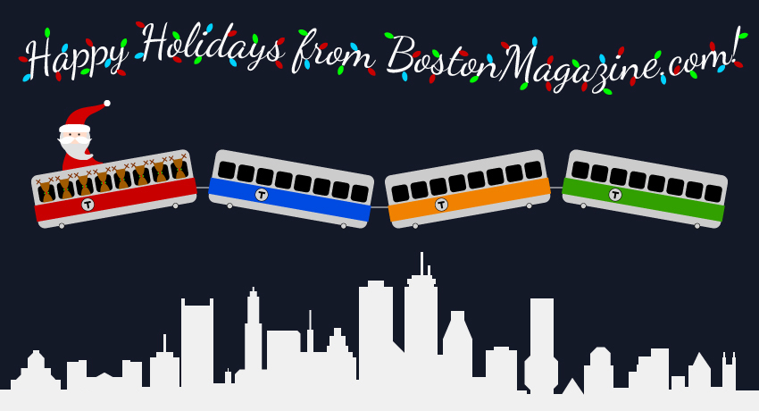 mbta christmas illustration