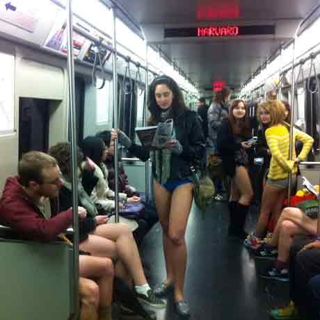 naked women on the subway