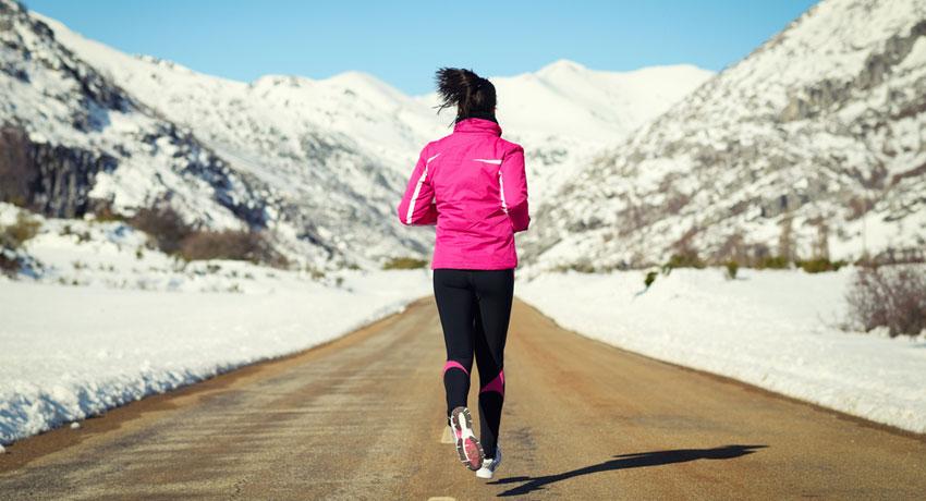 Winter running image via shutterstock