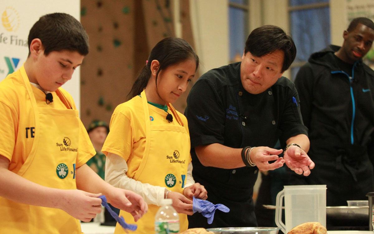 Chef Ming Tsai doing a cooking demo.