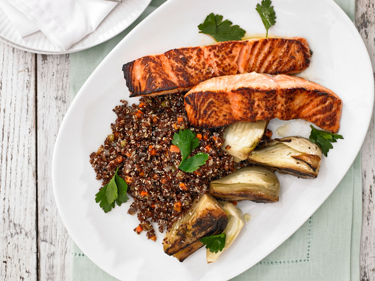 Salmon and quinoa photo provided by Heirloom Kitchen