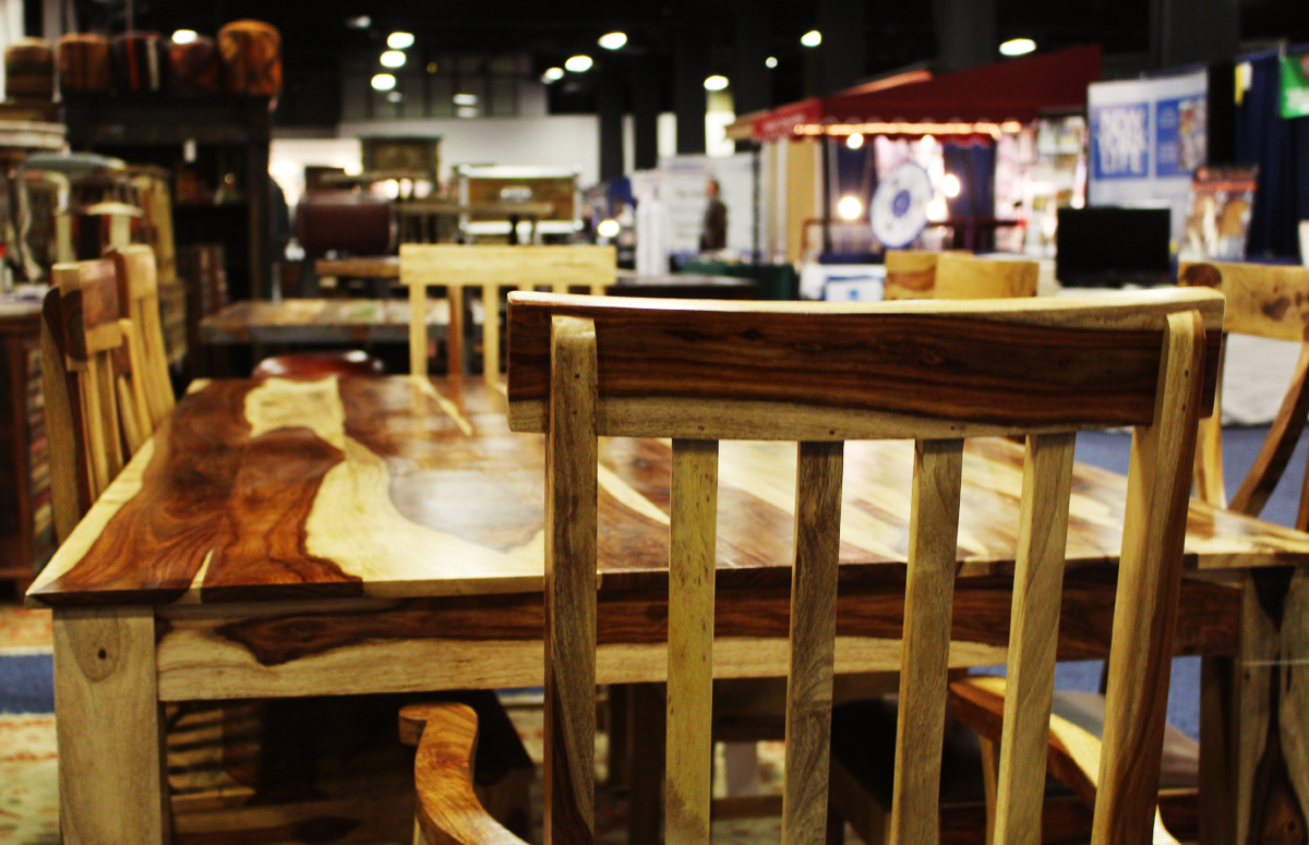 Indian Redwood Table from Manzel Interiors. Table-$1200, Chairs-$120-140 (Photo by Margaret Burdge).