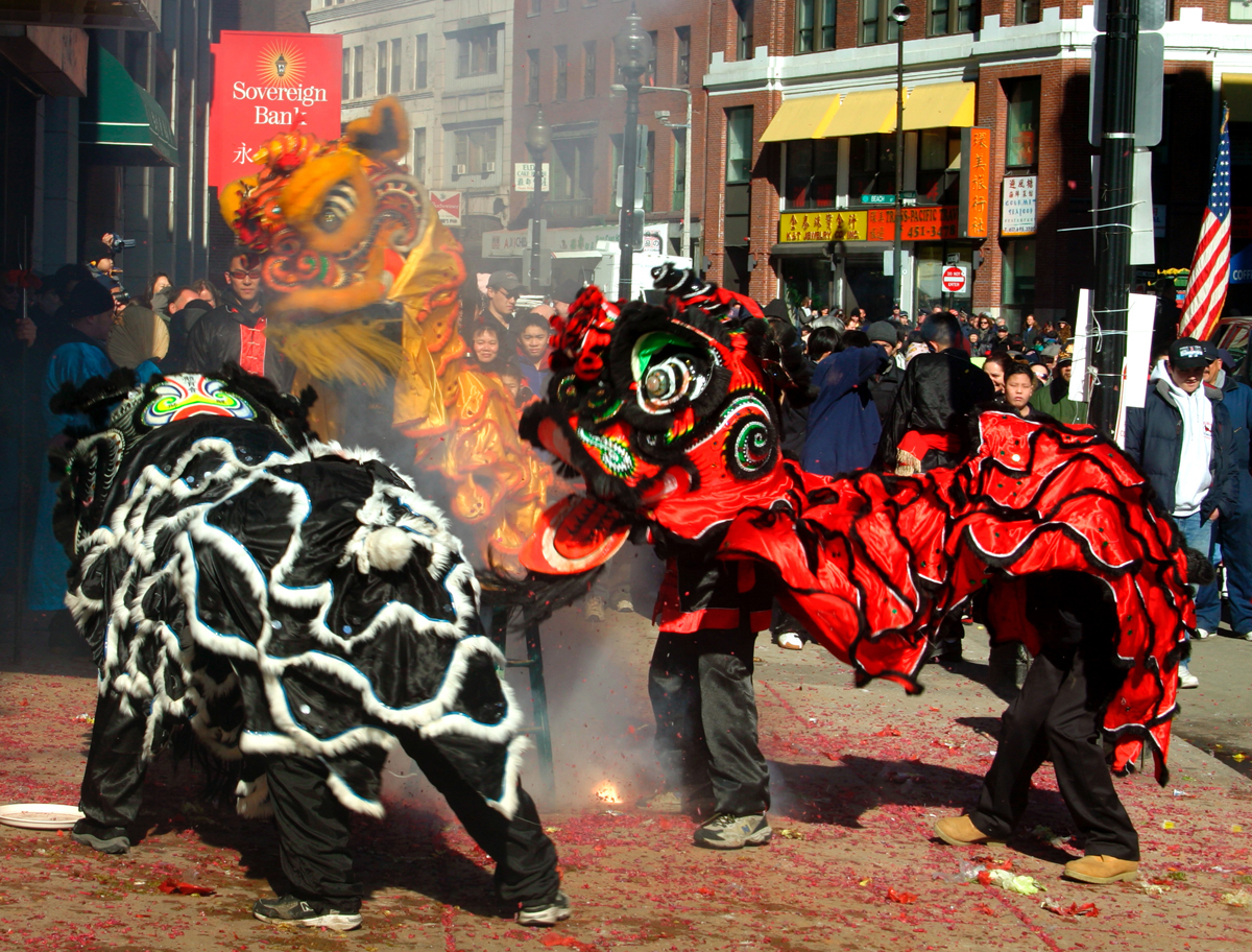 Lion Dance in Boston during Chinese New Year.
