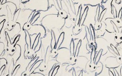 One of Hunt Slonem's whimsical rabbit paintings.