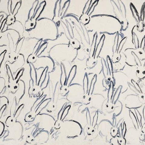 One of Hunt Slonem's whimsical rabbit paintings.