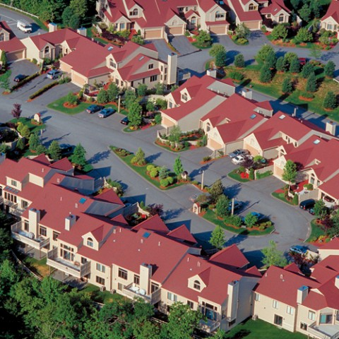 housing development aerial view, Winchester, MA