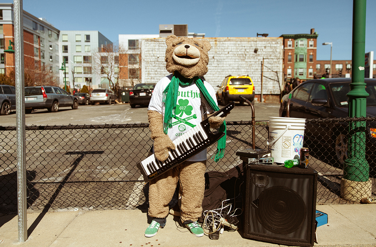 Draped in green, Boston's darling Keytar Bear came out to Southie for this year's festivities.