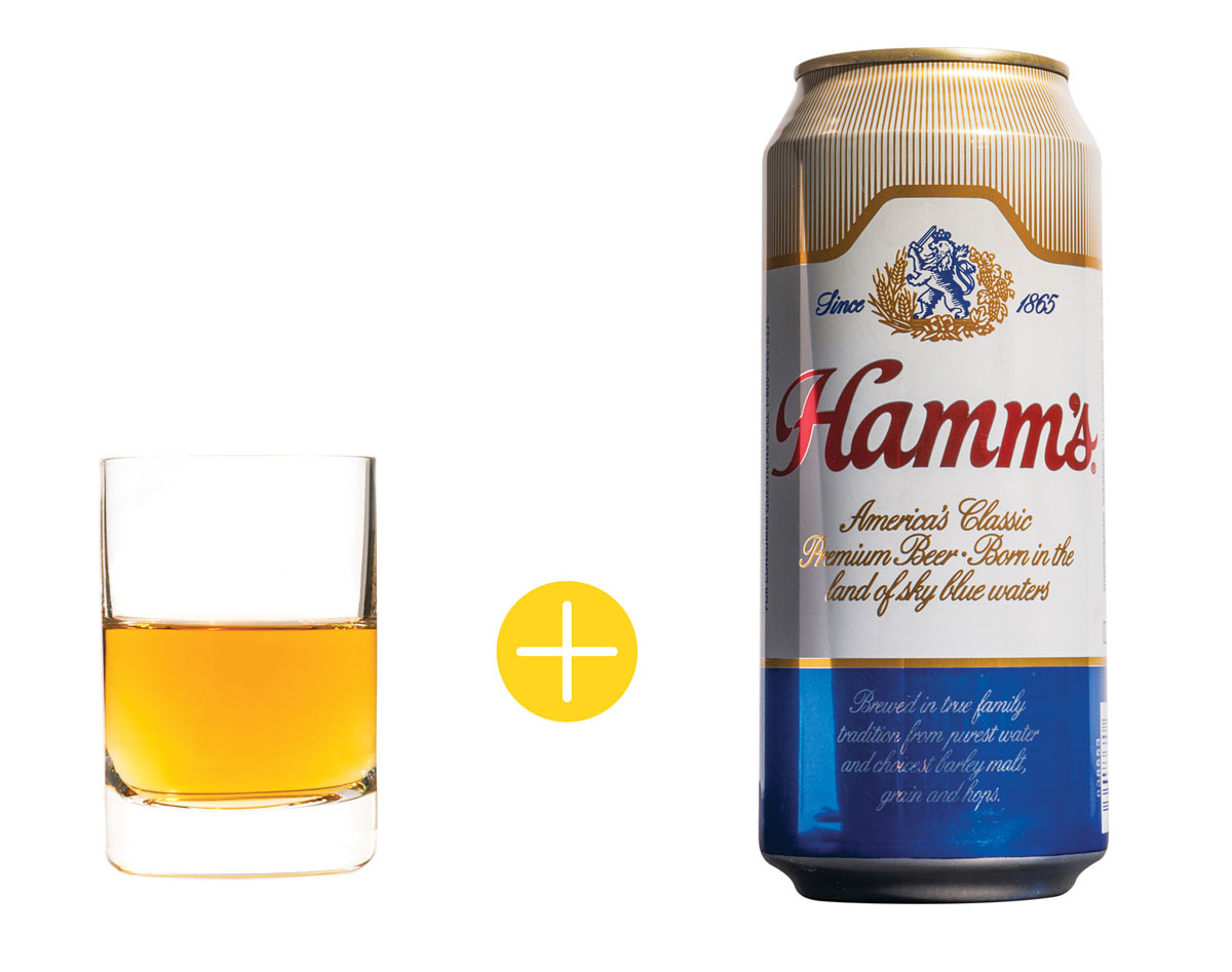 Old Crow Reserve bourbons and Hamm's