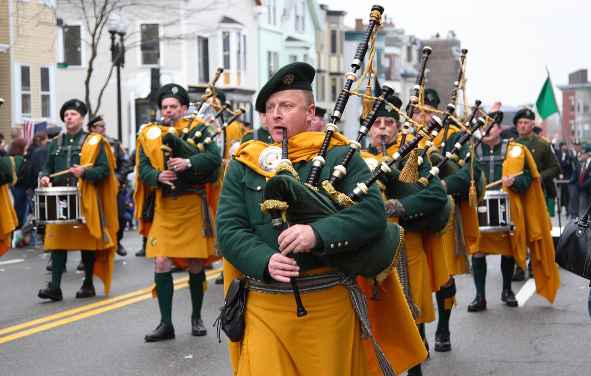 Irishmen playing bagpipes