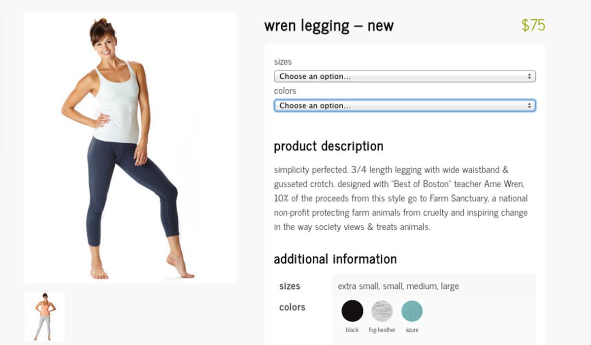 Screenshot of the Wren legging purchase page.