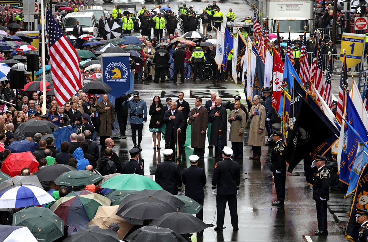 A flag raising ceremony took place at the finish line, attended by former Mayor Tom Menino, Mayor Martin Walsh, Vice President Joe Biden, Governor Deval Patrick, and the Richard family.