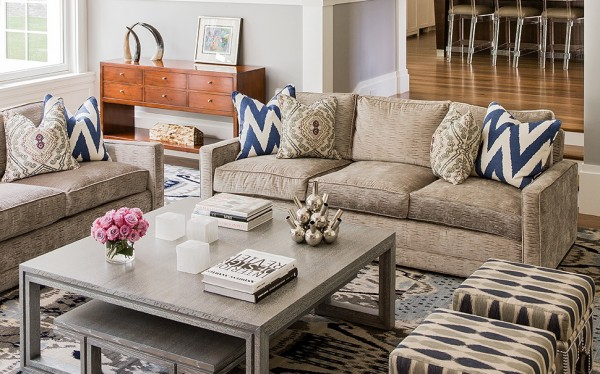 A peek at a living room designed by Kaplan (photo by Michael J. Lee)