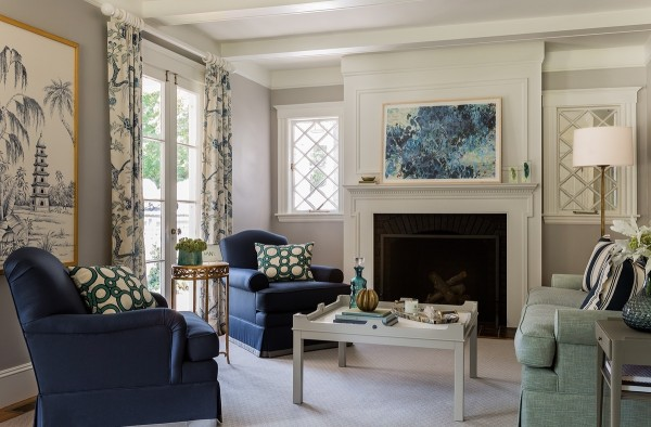 A view of a living room designed by Russell.