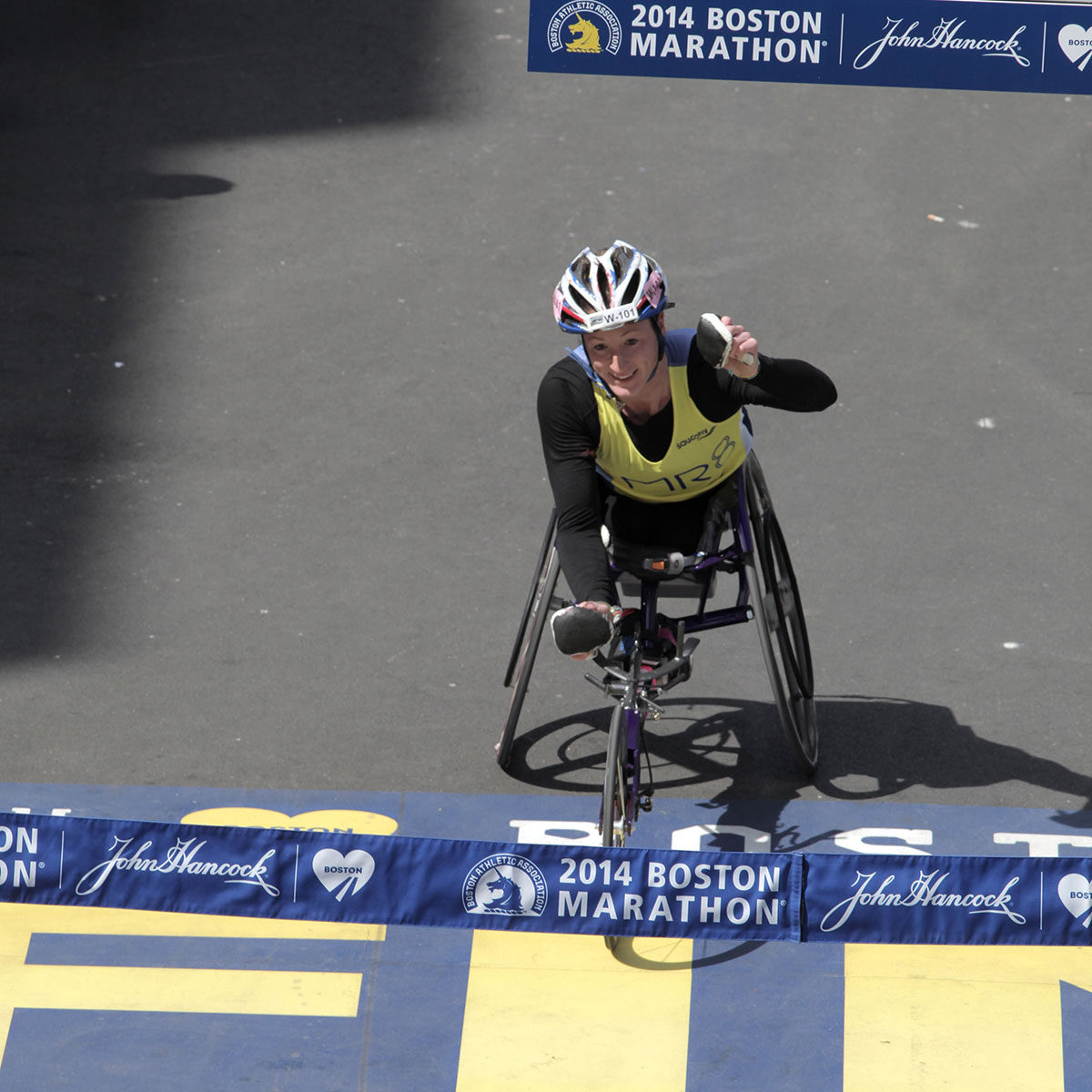 Tatyana McFadden crossing the finish line for her second consecutive Boston Marathon win.