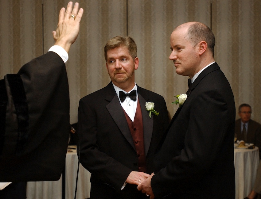 Michael Horgan, left, and Ed Balmelli, right, sued Massachusetts for the right to marry their partners. (AP Photo/Steven Senne)