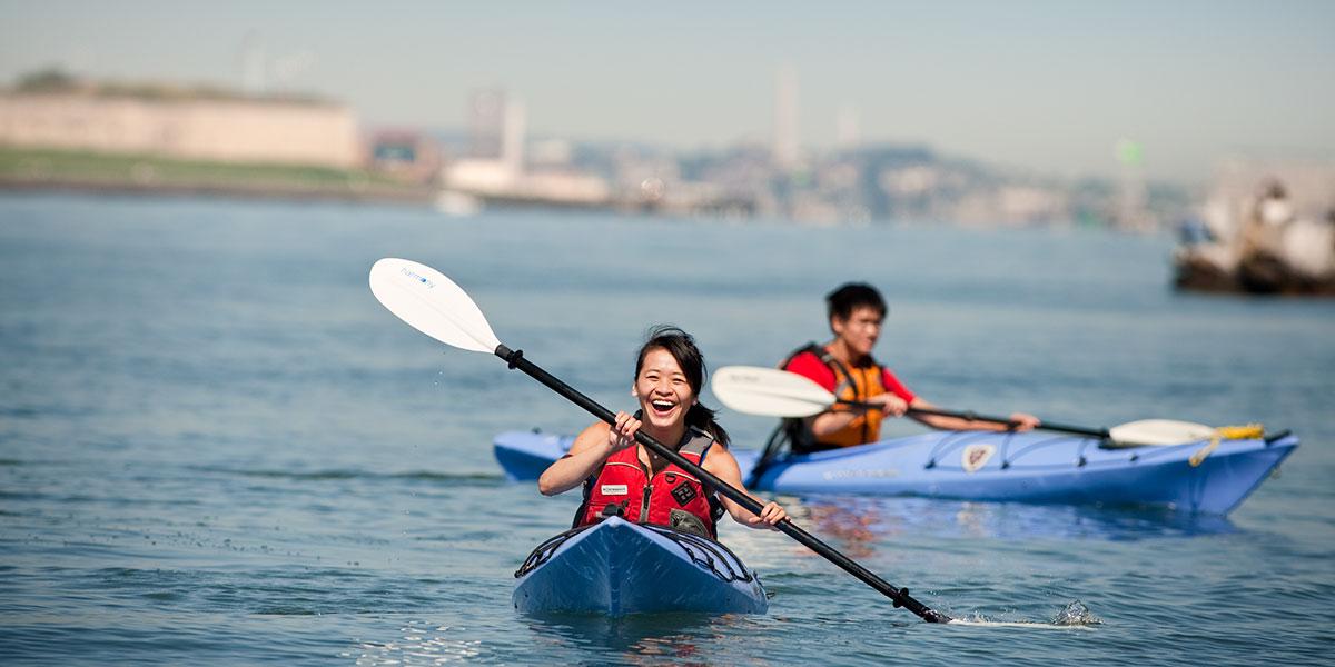 kayaking in harbor