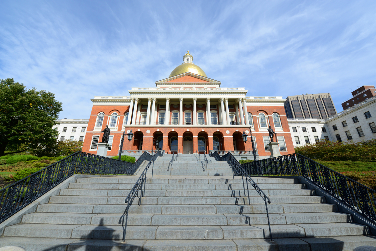 Massachusetts State House photo via Shutterstock