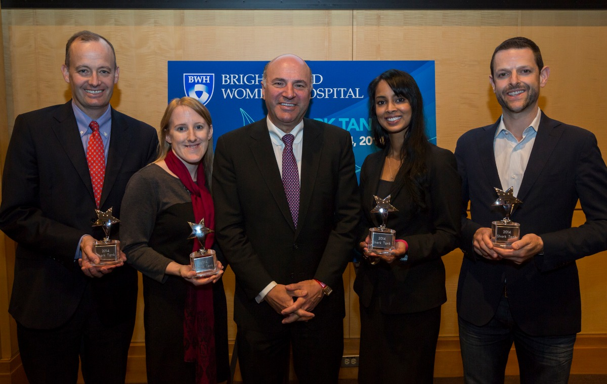 Kevin O'Leary (center) with the four winners. Photo provided.
