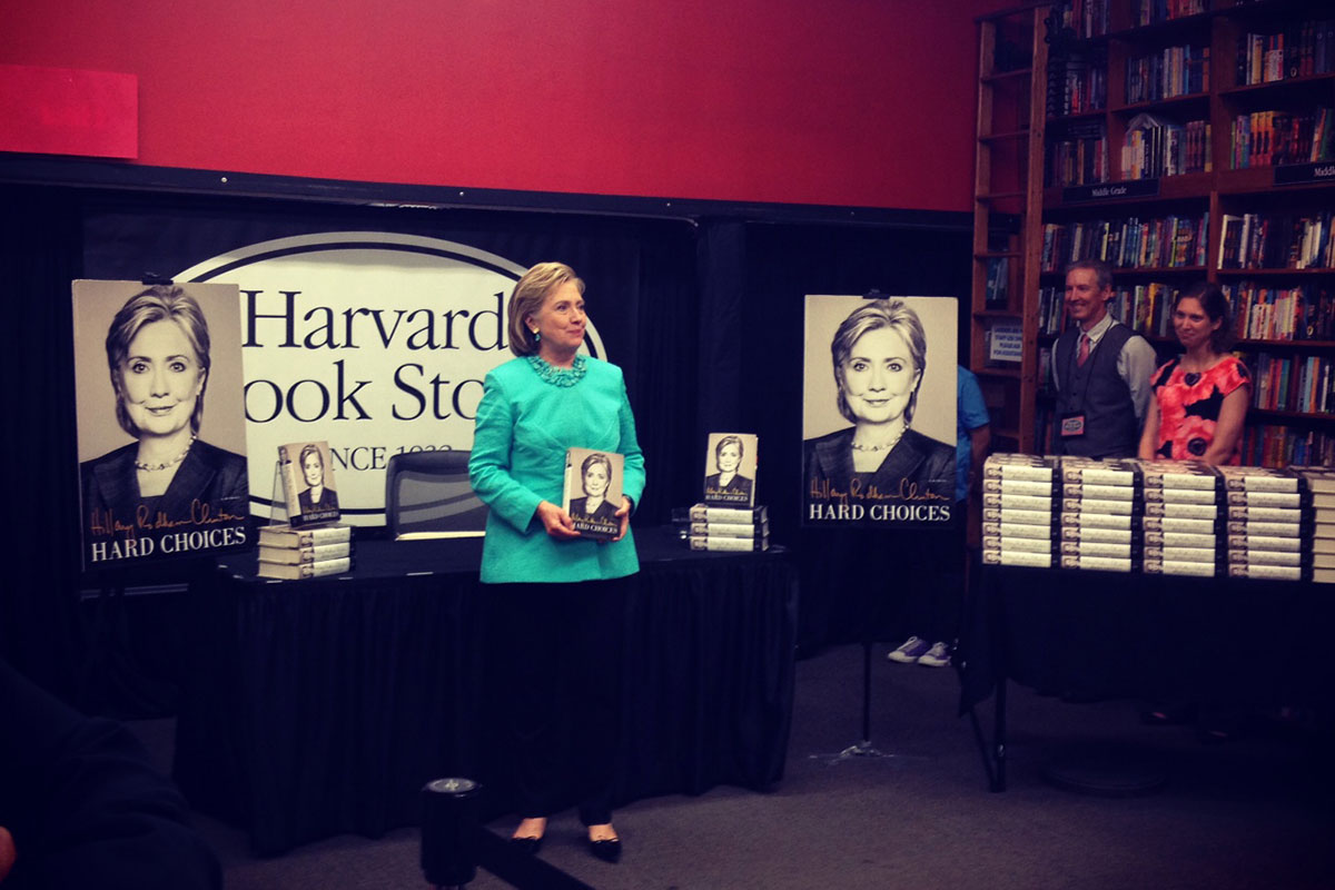 HILLARY RODHAM CLINTON AT HER HARVARD BOOK STORE SIGNING MONDAY NIGHT. / PHOTO BY MELISSA MALAMUT
