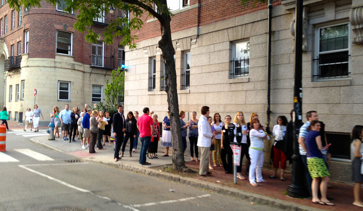A small portion of the line outside on Bow street.