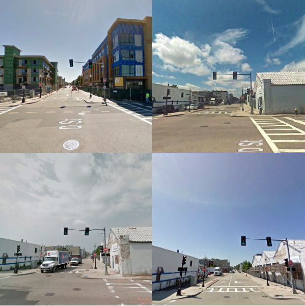 Google Maps Time Machine images from 2007, 2009, 2011, and 2013.