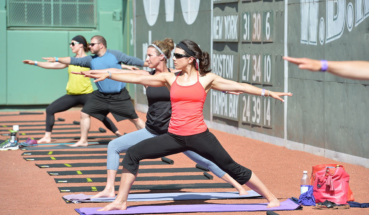 Yogis lined the warning track.