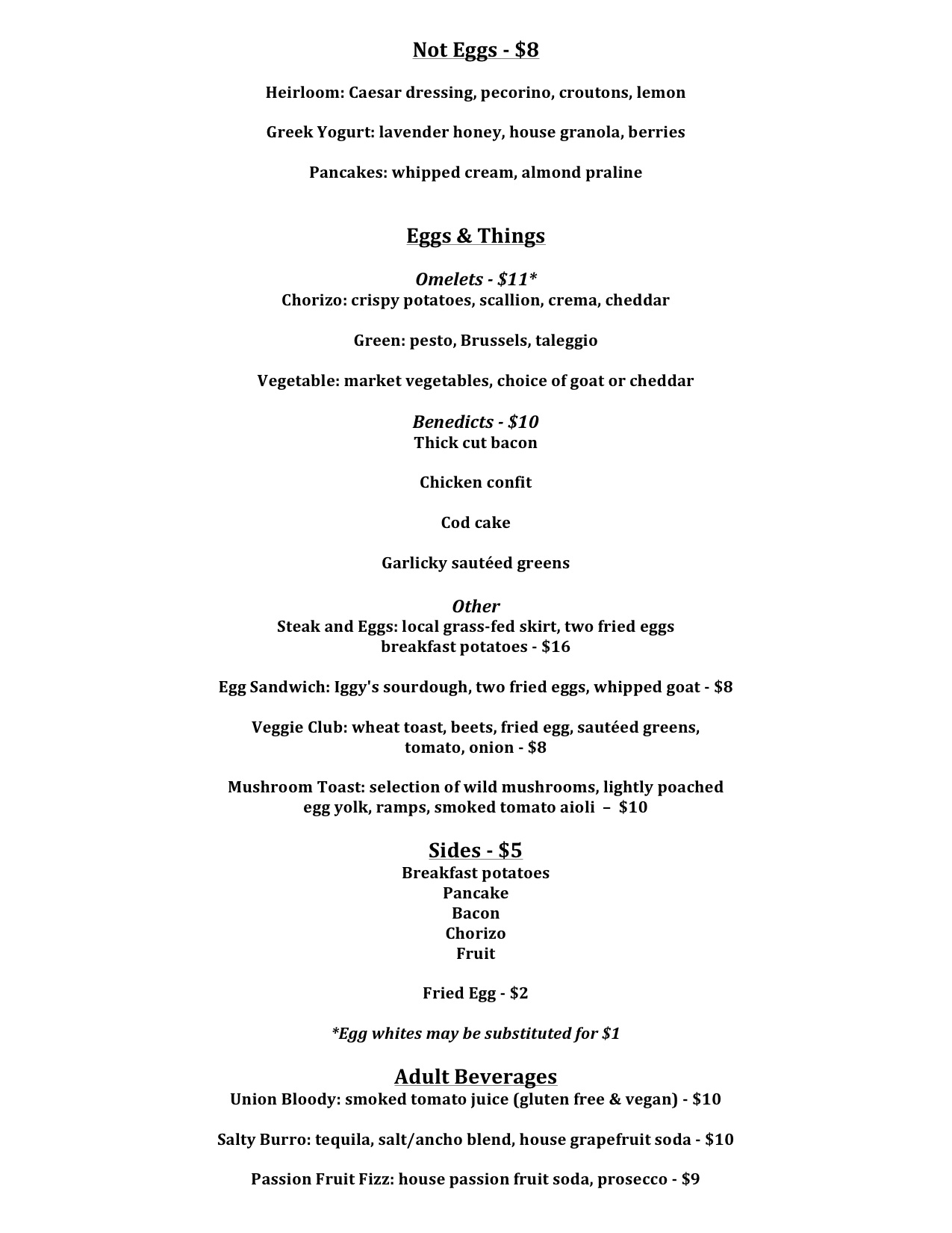 Brass Union - Brunch Menu