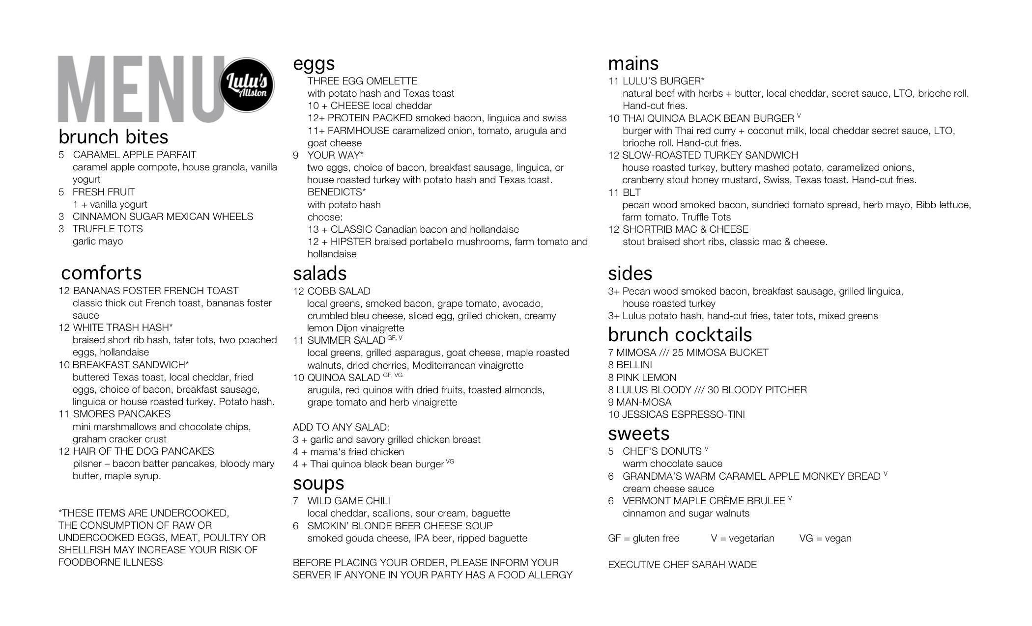 brunch menu lulu
