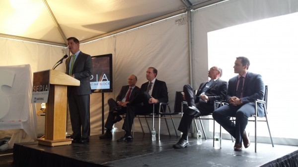 Boston Mayor Marty Walsh speaks to the crowd at the Sepia groundbreaking