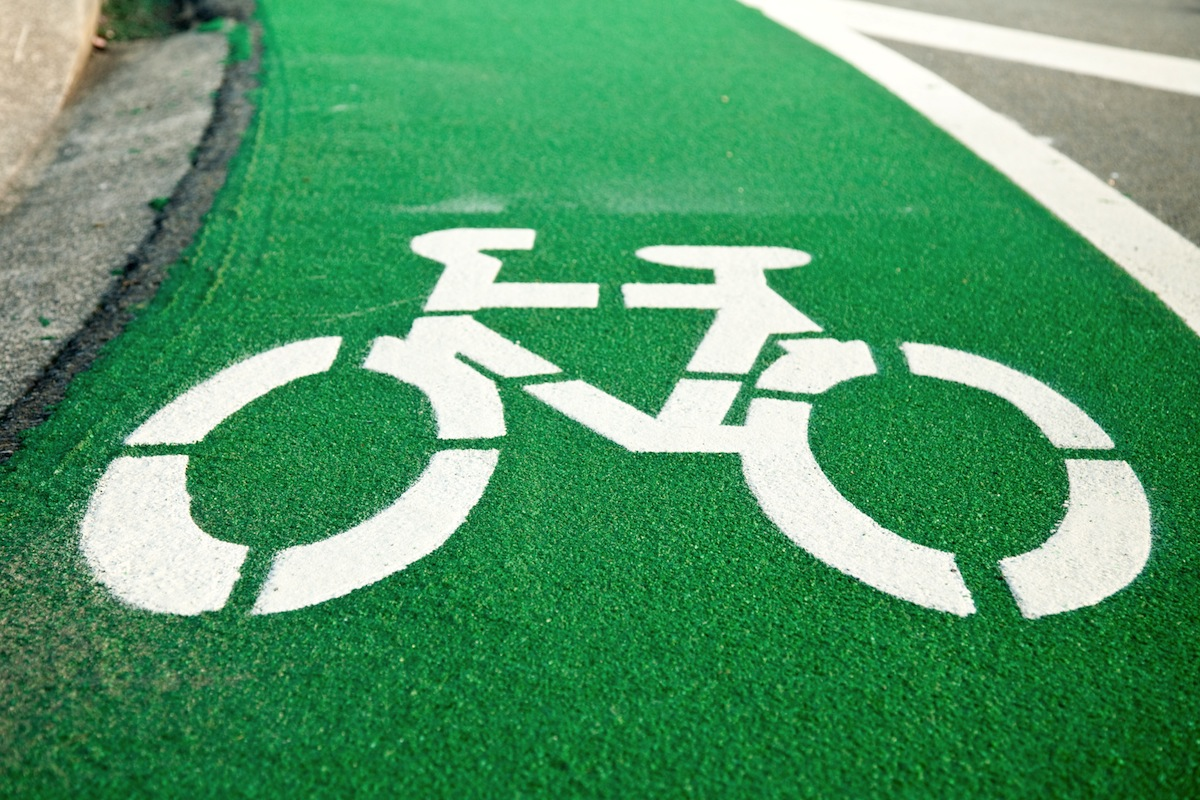 Green Bike Lane Image via Shutterstock.com