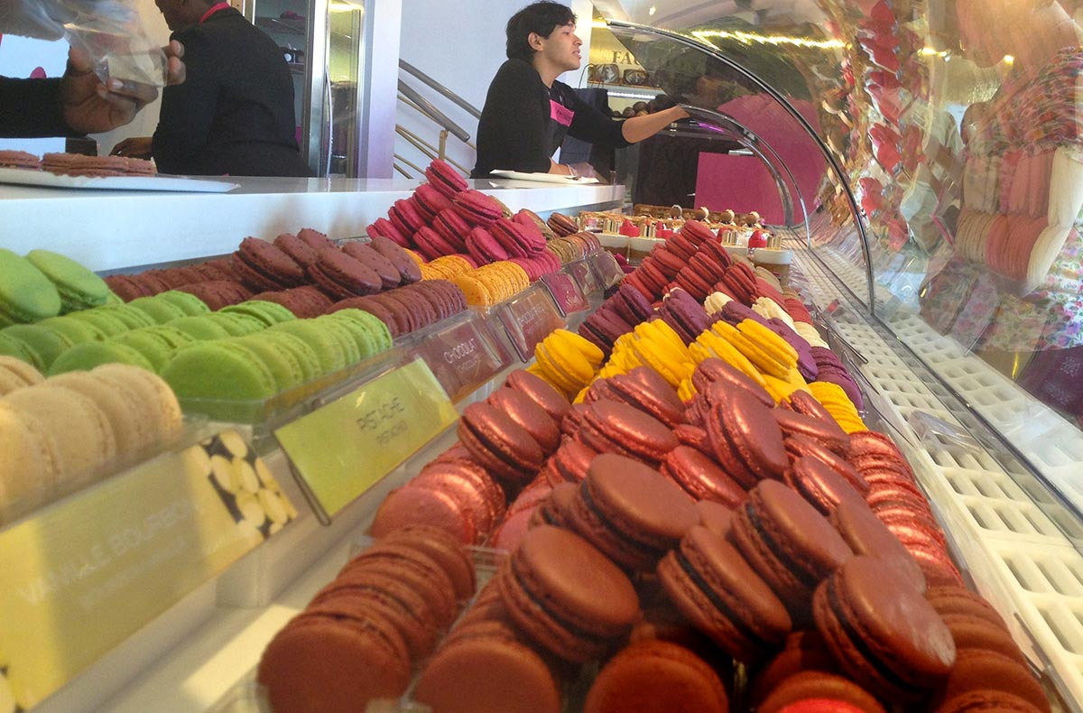 macaroon display in a Paris shop. photo by emily phares.