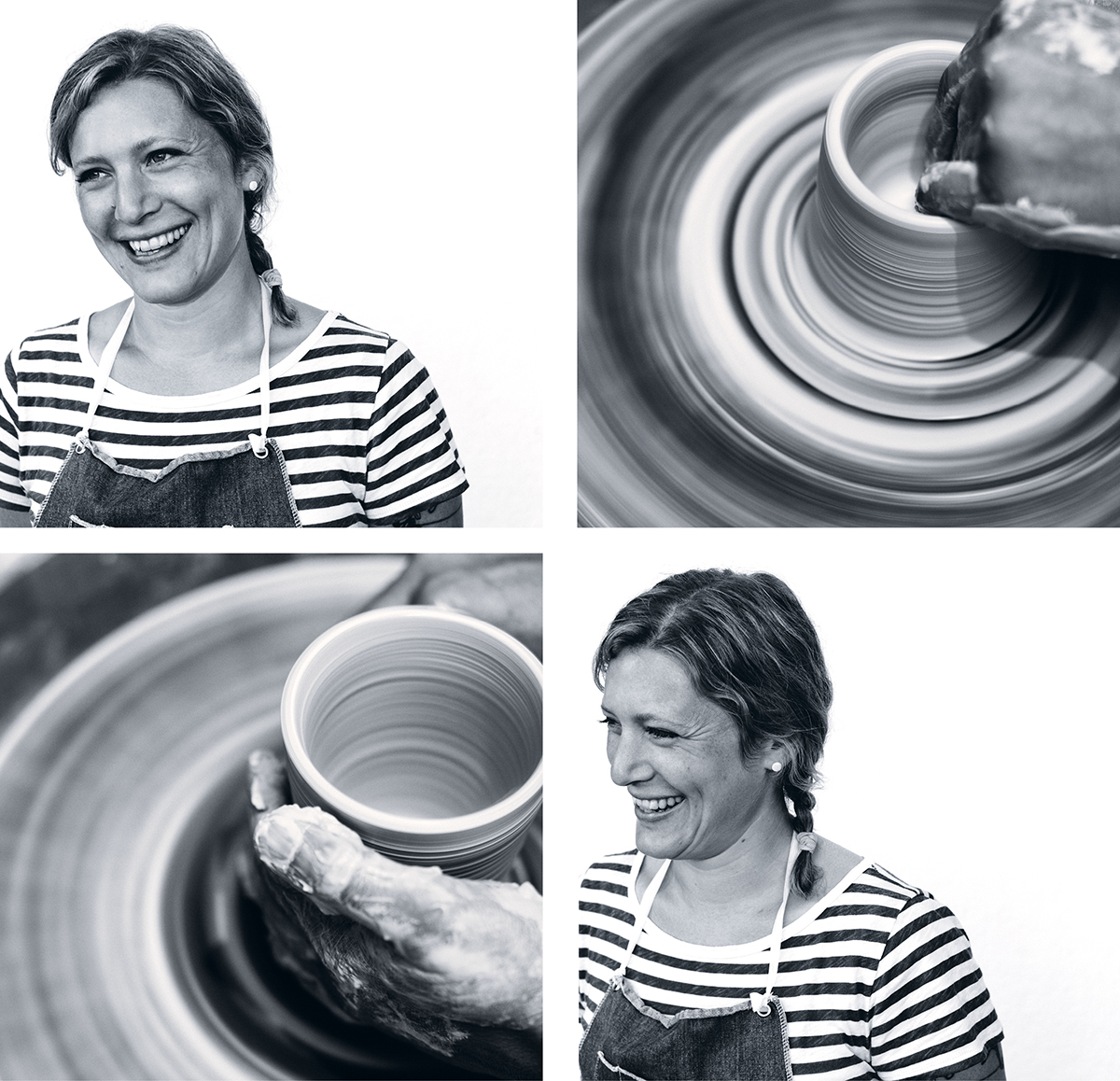 Molly Hatch at her pottery wheel. Photos by Michael Piazza