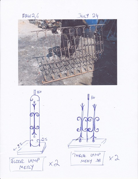 Sketches, like this one for the Mery lamp, are sent to the team in Lebanon.