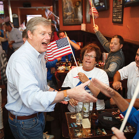 Charlie Baker Watchs Patriots Game In South Boston