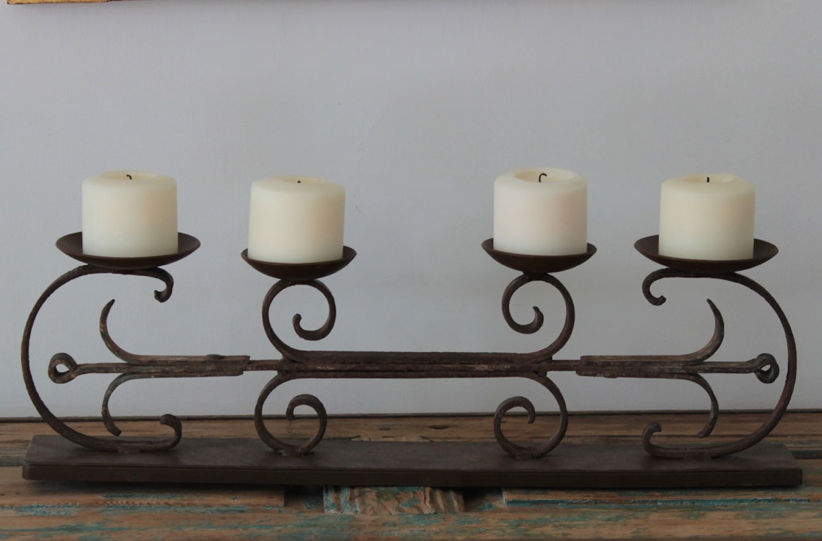 A candelabra made from a recycled gate, $429.