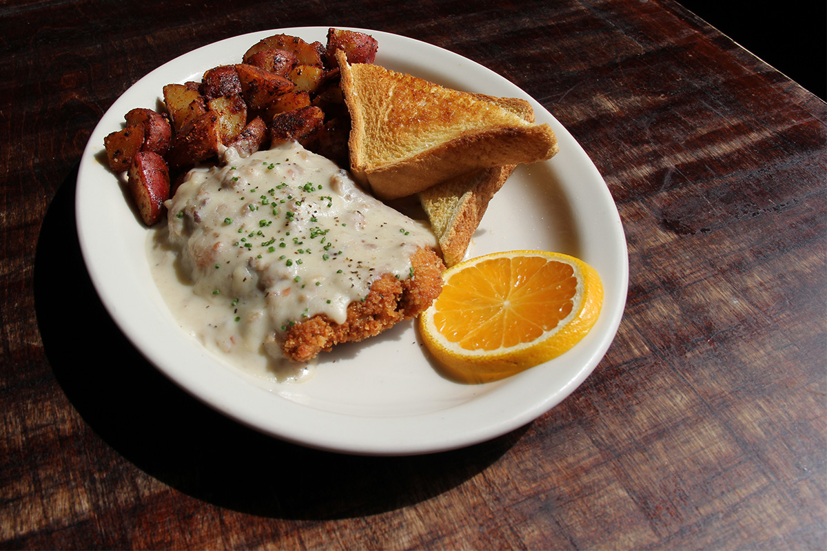 Country fried steak with sausage gravy at Deep Ellum. Photo by Ruby Wallace-Ewing