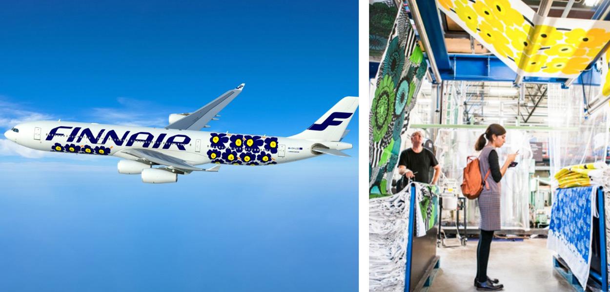An airplane celebrates the iconic Marimekko print; Inside the Helsinki, Finland headquarters. Photo provided.
