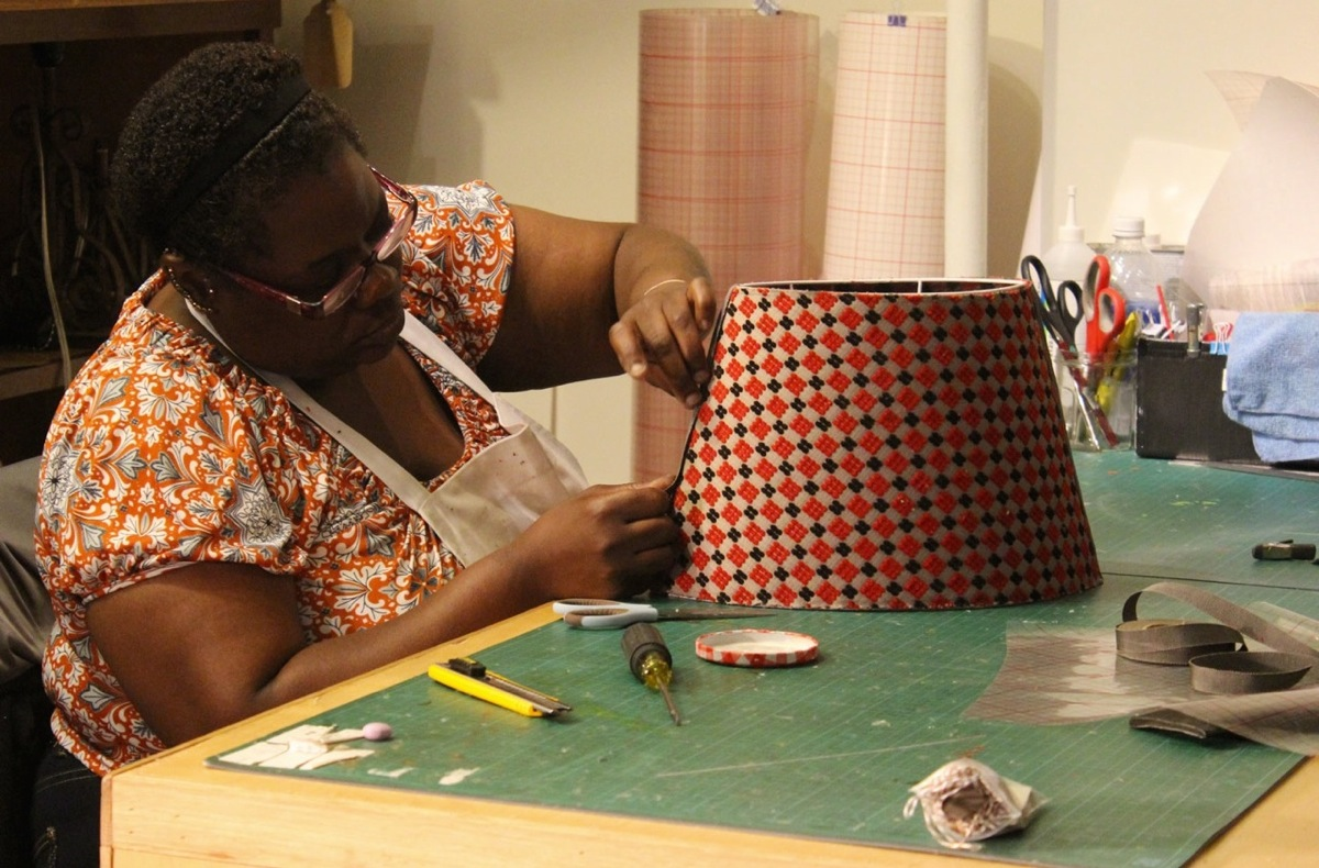 Lorraine Carrington makes lampshades for beyt by 2b design.