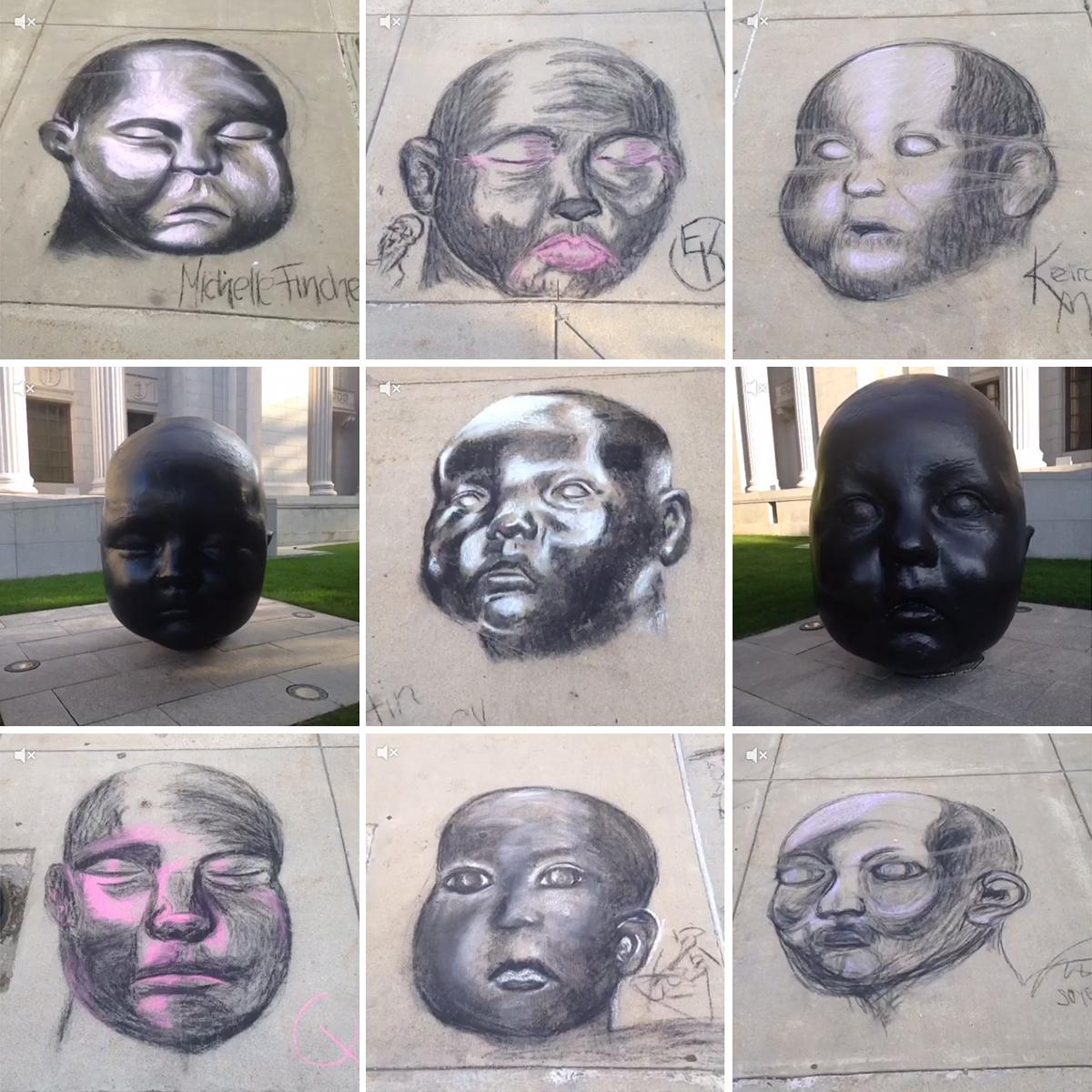 mfa chalk drawings baby heads