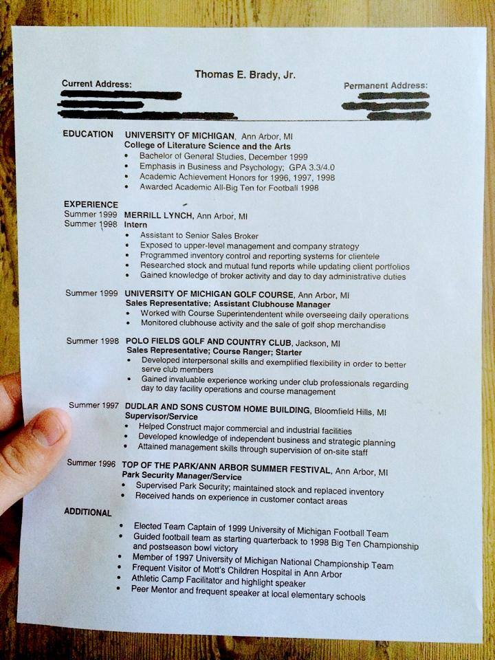 building superintendent resume%0A tom brady resume
