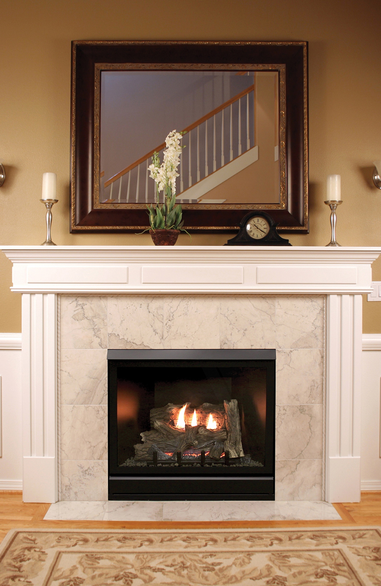 THIS DELUXE MODEL FIREPLACE FROM EMPIRE UTILIZES LIQUID PROPANE. PHOTO PROVIDED.
