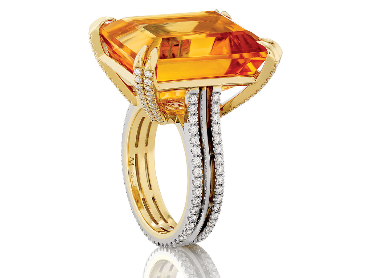 Platinum and 18-karat-yellow-gold ring with citrine and diamonds. Photograph by Scott Goodwin.