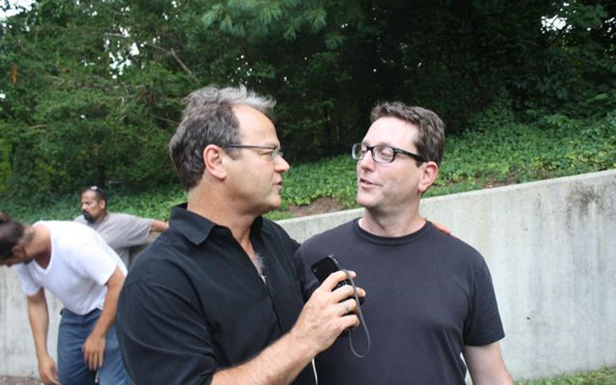 Charles Rose and director David Dobkin on set.