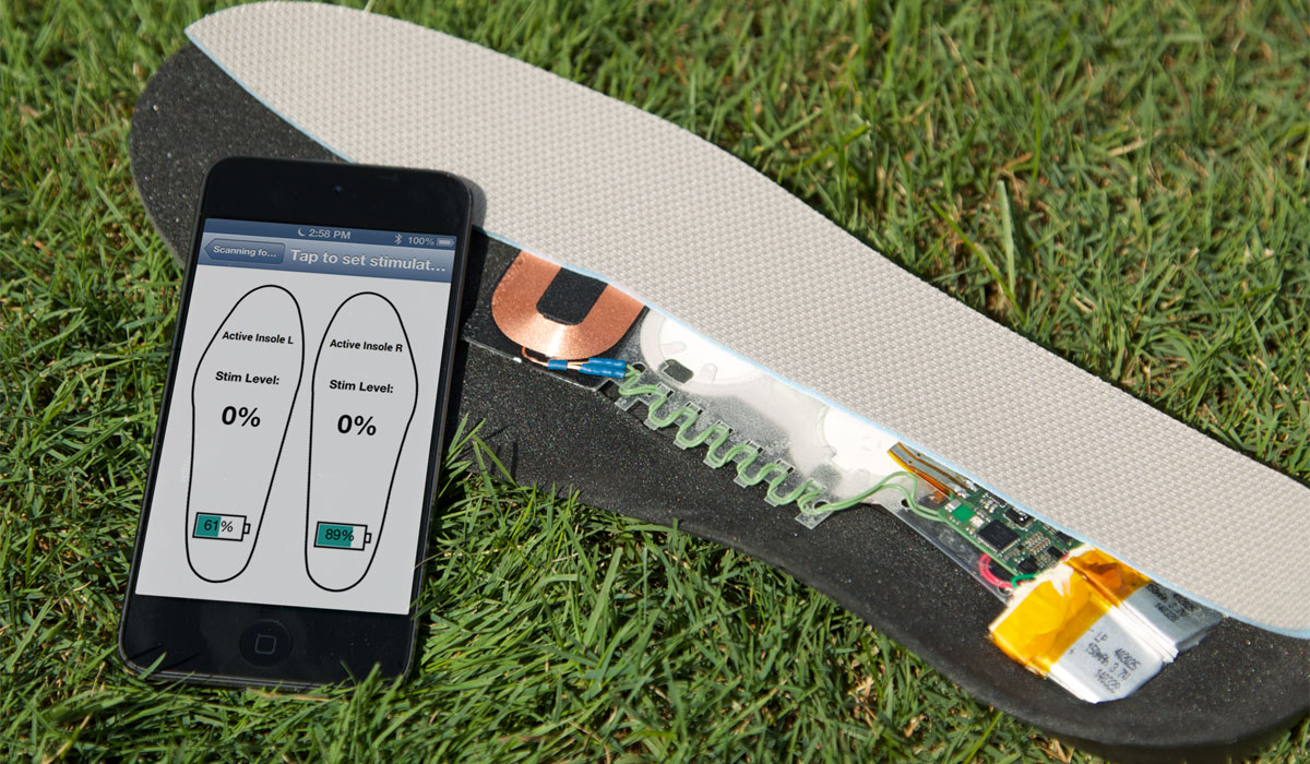 Vibrating insoles photo provided to bostonmagazine.com by Harvard's Wyss Institute.
